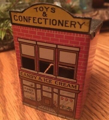Antique 1914 Tin Toy Train Village Building Candy Container Toys & Confectionery
