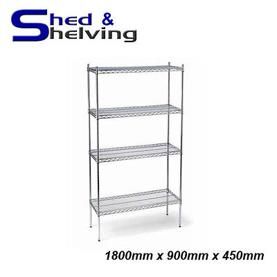 1800x900x450mm Chrome Wire Shelving Racking Shop Display Kitchen Storage