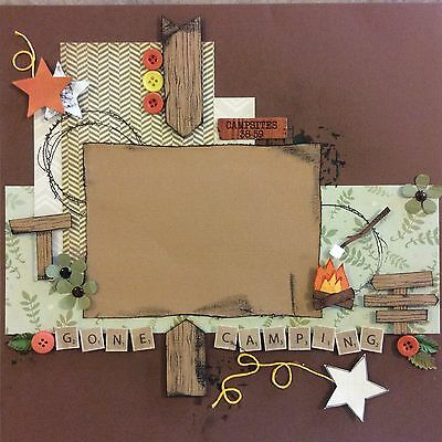 handmade scrapbook page 12 X 12 Gone Camping Themed Layout