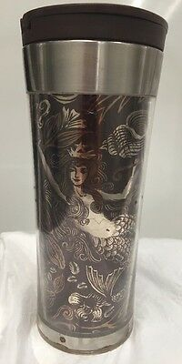 Starbucks Silver Stainless Steel Brown Mermaid Anniversary Tumbler 16 Oz 2007