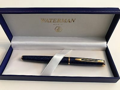 Waterman Blue Hemisphere Rollerball Pen 23K gold plated, new old stock