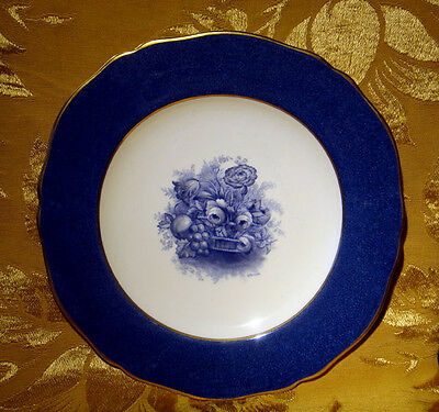 Copeland Spode Blue Dinner Plate Flowers Fruits Signed A.pownall Made In England