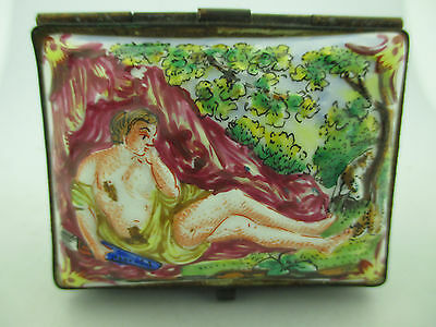 Antique Multi Colored Capodimonte Porcelain Hand Painted Box w/ Pastorial Scene.