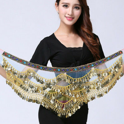 Belly Dance Wrap Scarf Skirt Belt Dancing Costume with Gold Coins Bead Party New