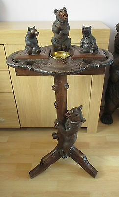 "Large 35.5"" Black Forest Bear Music Box Smoking Side Table Wood Carving Swiss"