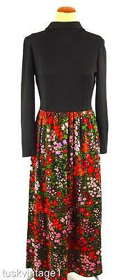 VINTAGE 70s BLACK knit top FLORAL red pink green COTTON maxi skirt DRESS 12