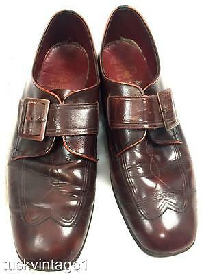 VINTAGE BURGUNDY LEATHER engraved BUCKLE strap 70s MENS handcrafted SHOES sz 9