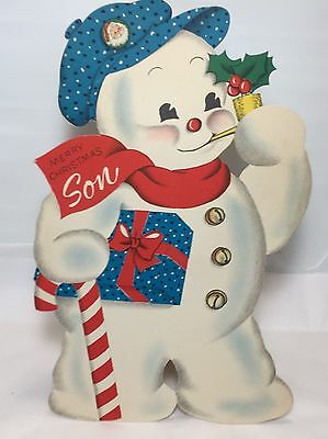 Vintage Norcross Christmas Greeting Card Die Cut  Merry Christmas Son 1947