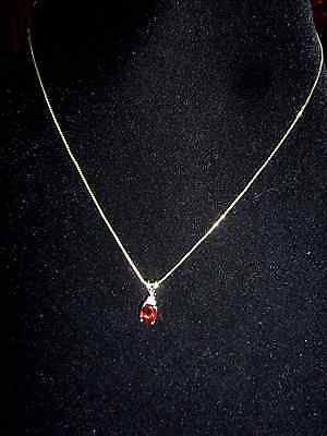 10K Yellow Gold Chain and 10K Oval Garnet/ Diamonds Vintage Pendant