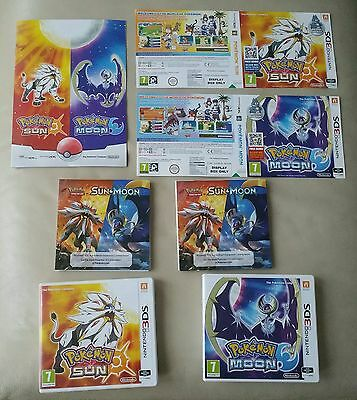 Pokemon MOON & SUN 3ds -  Empty Cases  Only  + New Pokemon promo Booklet MANUALS
