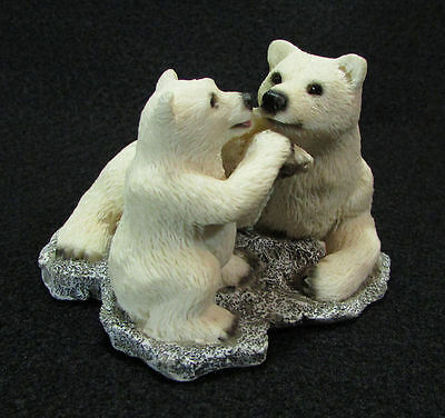 Polar Bear w/ Cub Miniature Figurine Touching Paws Small Resin Baby White Bears
