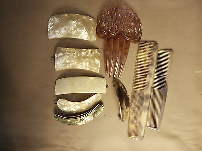 Lot of Vintage Hair Comb 's Antique Combs Barrette Salvaged needs restoration