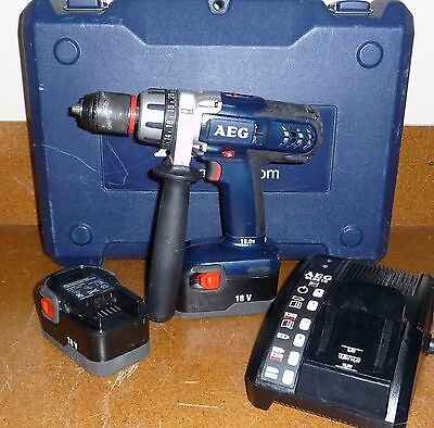 AEG Cordless Hammer/Drill/Driver 18V BSB 18STX with Case, 2 Batteries & Charger