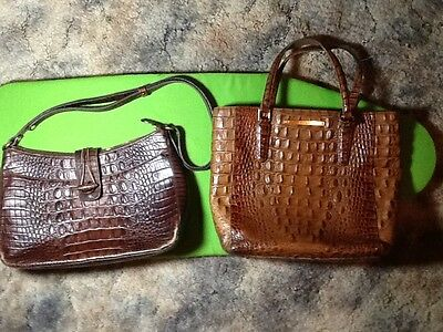 Brahmin lot of 2 small cognac/brown leather small shoulder bags