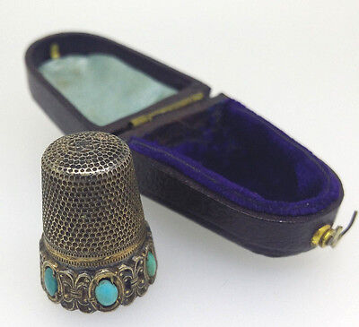 Antique THIMBLE Silver & Turquoise, European original box c1900s Sewing