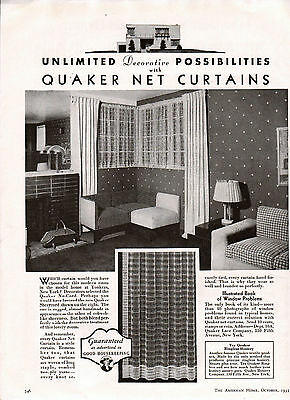 1935 Quaker Net Curtains Ad -Sheercord,  Nu-Cord,  Etc. --x778