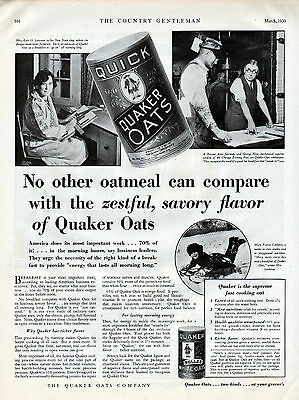 1930 Quaker Oatmeal Ad ---Fast Cooking oatmeal ---v456