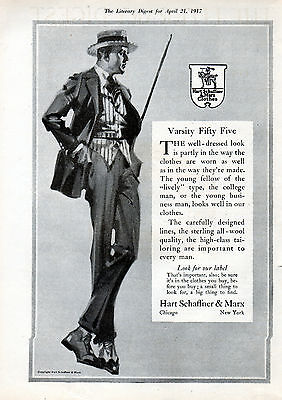 """1917 Hart Scaffner & Marx ad Clothes ad """"Varsity Fifty Five""""--0-949"""