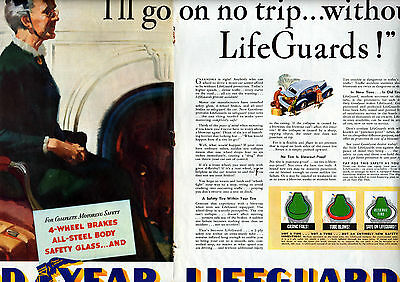 """1939 Goodyear tire ad- 2 page centerfold """"Life Guards """" inner tire---998"""