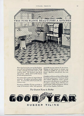 1928 Rubber Tiling by Goodyear-home decor ad -/504