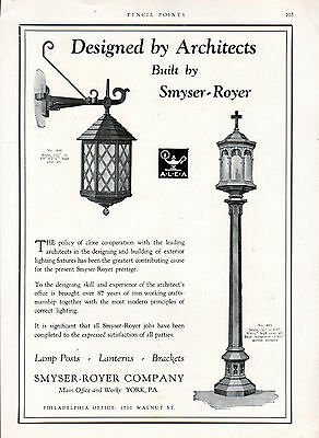 1928 Smyser-Royer Co Exterior Light Fixtures ad -Home decor ad --p-653