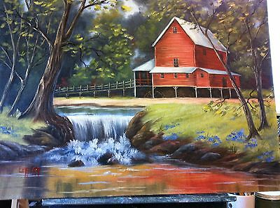 Original Oil Painting...16 x 20..Red Mill..... on Canvas Board