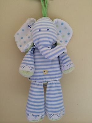 Carters Just One Year Striped Elephant Musical Crib Pull Toy Brahms Lullaby
