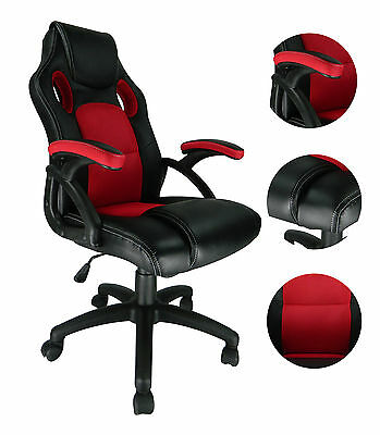 Swivel PU Leather Mesh Office Racing Gaming Reclining Computer Desk Chair Red