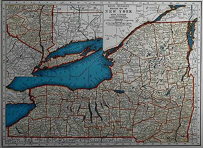L@@K! Vintage 1940 World Atlas Map of New York & New Mexico WWII World War Map