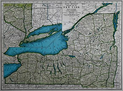 L@@K! Vintage 1944 World Atlas Map of New York & New Mexico WWII World War Map