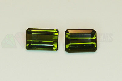 2pcs Green Tourmaline Step 1.33ct 6x4mm VS Loose Natural Gemstone Afghanistan