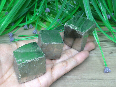 Set Of Three (3) Pyrite Cube Platonic Solids Sacred Geometry Crystal Cubes