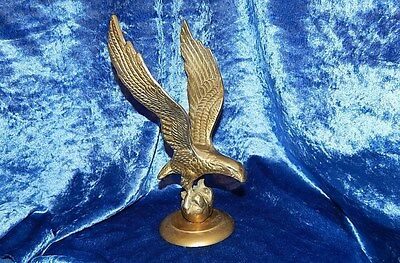 Vintage Solid Brass Eagle On Ball Stand Statue Figurine