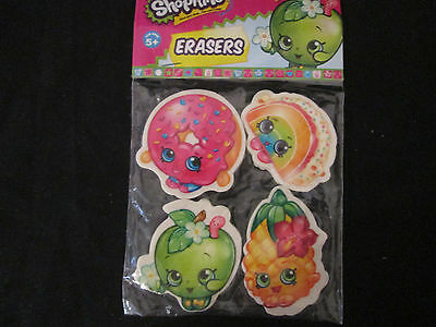 SHOPKINS Packet of 4 Erasers SCHOOL STATIONARY - BRAND NEW