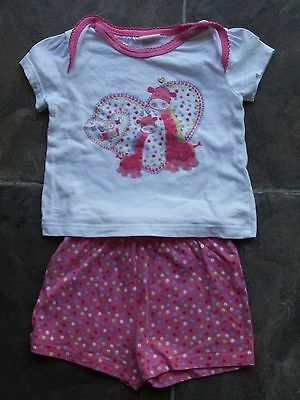 Baby Girl's Pink & White Cotton Knit Summer Pyjamas Size 000 GUC