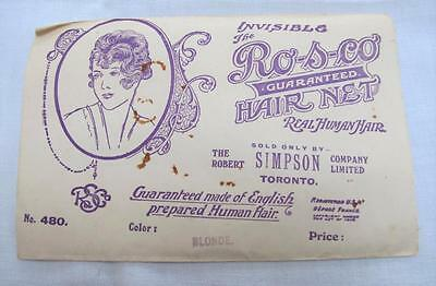 "VINTAGE 1920's FLAPPER ""RO-S-CO"" INVISIBLE HAIR NET & PACKAGING - BLONDE"
