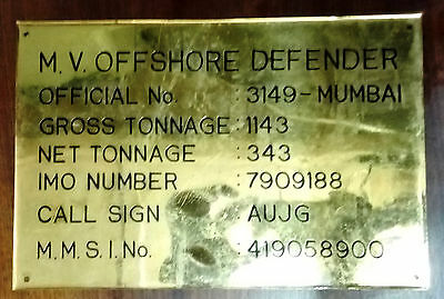 Vintage Marine Nautical Brass Ship Name Plate Of M.v Offshore Defender