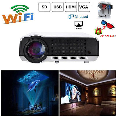 Smart Wifi 3D 1080P 5000 Lumens Full HD LED Projector Home Theater Multimedia