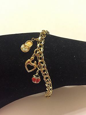 14k 14kt Yellow Gold Charm Bracelet 6.7 Grams Size 7.5""