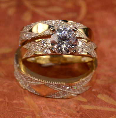 14K Yellow Gold Over 2CT Diamond Engagement Ring Wedding Trio Set For His & Her