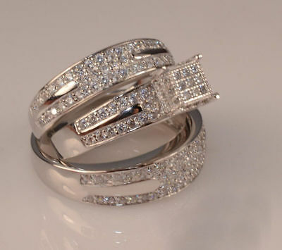 Unique Set! Diamond Trio His Hers Matching Engagement Ring Wedding Band 14K