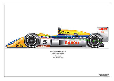 F1 Gp Mansell Williams Fw11B 1987 Pro Airbrush Print