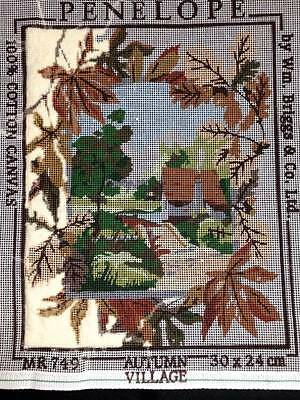 Penelope Printed Tapestry Needlepoint Canvas Autumn Village Leaves Cottage