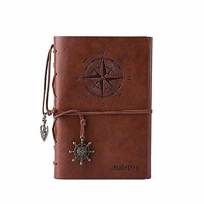 Leather Writing Journal Notebook, MALEDEN Spiral Daily Notepad Classic Embossed