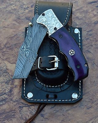 HANDMADE Damascus steel blade TANTO POCKET KNIFE, FOLDING KNIFE, DYED BONE