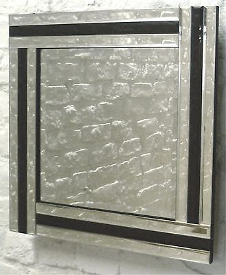 """Fiorina Black Glass Framed Square Bevelled Wall Mirror 32"""" x 32"""" Large"""