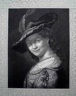 REMBRANDT'S TOCHTER.Stahlstich  by A. Payne um 1850,Hutmoden- Rembrandt/Raab.