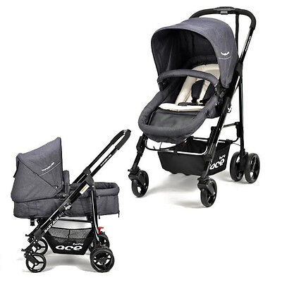 NEW  Innova baby Pram STROLLER  4 WHEELS BABY PRAM DENIM Toddler Bassinet Kids