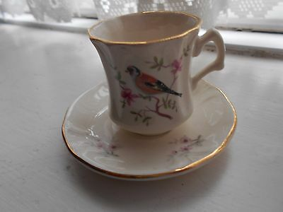 Royal Worcester Palissy miniature (Petite) cup & saucer - Goldfinch - rare