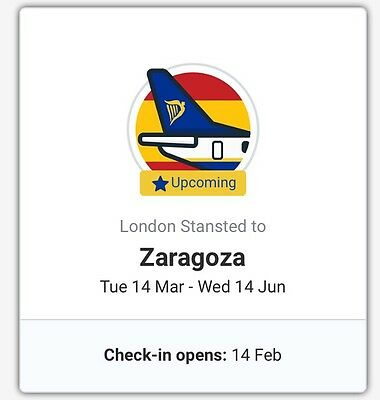 Return Flights From London Stanstead To Zaragoza Spain, 14th March To 14th Jun